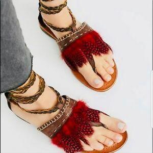 Free People Bora Bora Wrap Feather Sandals Size 38